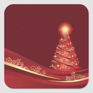 Christmas tree in a red Xmas winter garden sticker