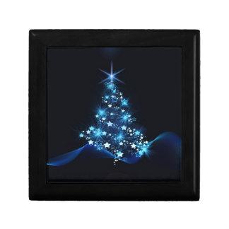 christmas tree lighting blue gift box
