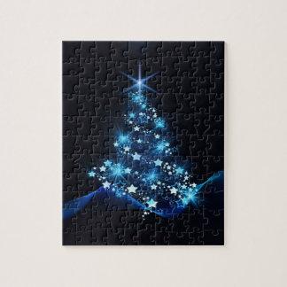 christmas tree lighting blue jigsaw puzzle