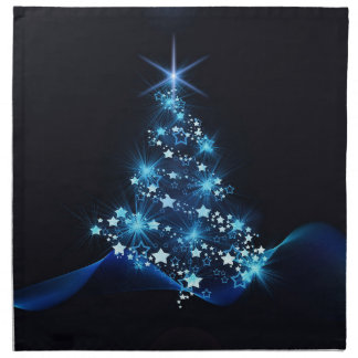 christmas tree lighting blue napkin