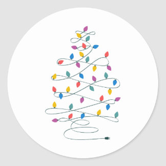 Christmas Tree Lights Classic Round Sticker