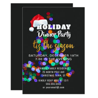 Christmas Tree Lights Dinner Party Invitation