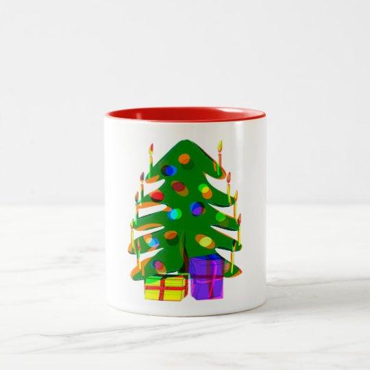 christmas tree lights presents holiday mug design