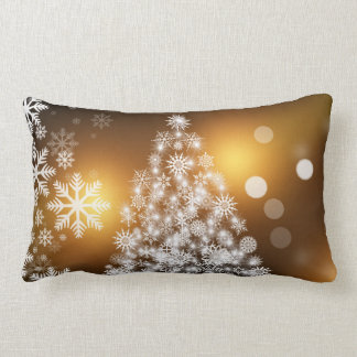 Christmas Tree Made of Snowflakes Lumbar Pillow