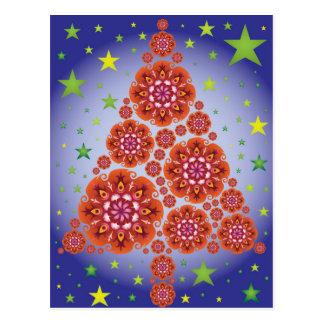 Christmas Tree Mandalas Stars Red Blue Green Color Postcard