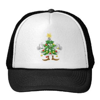 Christmas tree mascot doing thumbs up trucker hats