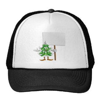 Christmas tree mascot with sign trucker hats