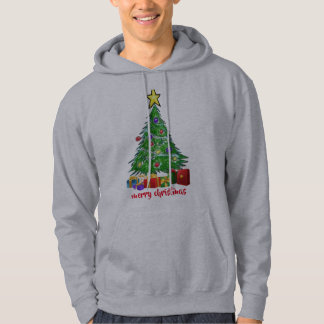 Christmas tree merry christmas men's hoodie design