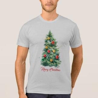 Christmas Tree Merry Christmas Modern Typography T-Shirt