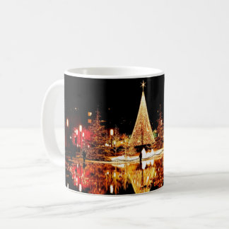 Christmas tree night city scene light reflection coffee mug