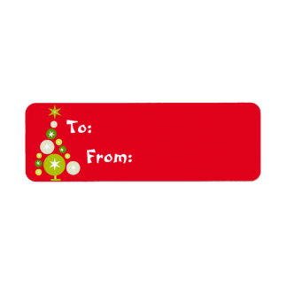 Christmas Tree of Circles Gift Lables Return Address Label