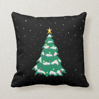 Christmas Tree on a starry night Throw Pillow