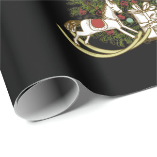 Christmas Tree on Black Wrapping Paper