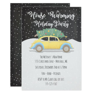 Christmas Tree on Car House Warming Holiday Party Card