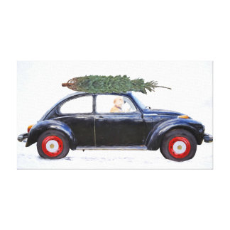 Christmas tree on car with retriever canvas print