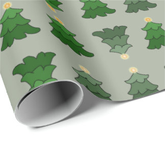 Christmas Tree on Custom Silver Wrapping Paper