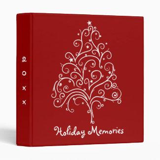 Christmas Tree on Red Holiday Memories 3 Ring Binders