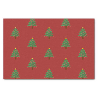 Christmas Tree on Red Tissue Paper