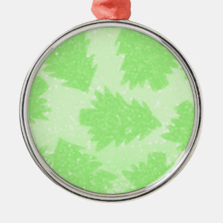 Christmas Tree Orchard Silver-Colored Round Ornament