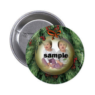 Christmas Tree Ornament Photo Frame 2 Inch Round Button