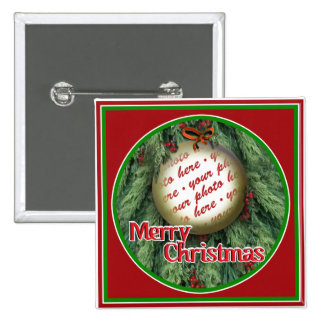Christmas Tree Ornament Photo Frame 2 Inch Square Button
