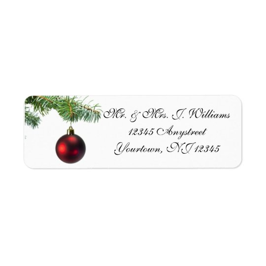 Christmas Tree Ornament Return Address Label
