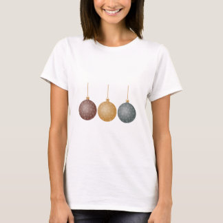 Christmas Tree Ornaments Bronze Gold Silver Balls T-Shirt