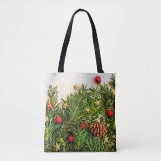 Christmas tree, ornaments & pinecone Print Tote