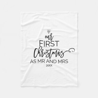 Christmas Tree Our First Christmas as Mr and Mrs Fleece Blanket