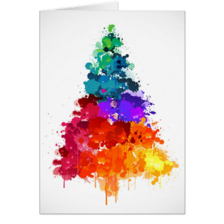 Christmas Tree, Paint, Primary Colors Card