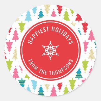 CHRISTMAS TREE PATTERN festive modern minimal red Classic Round Sticker