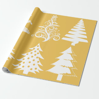 Christmas tree pattern gold white wrapping paper