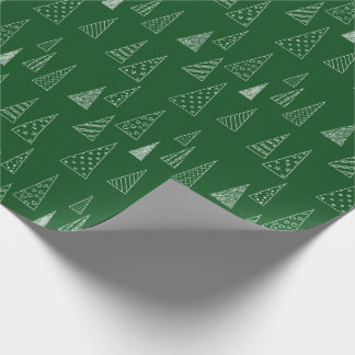 Christmas Tree Pattern Green and White Wrapping Paper