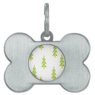 christmas tree pattern mid century modern vintage pet ID tag