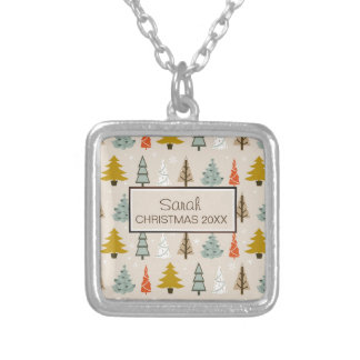 Christmas Tree Pattern Modern ID175 Square Pendant Necklace