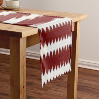 Christmas Tree Pattern on Red Background Short Table Runner