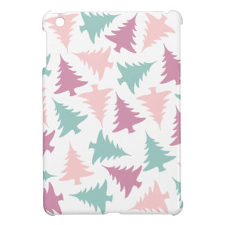 Christmas tree pattern pastel pink purple green case for the iPad mini