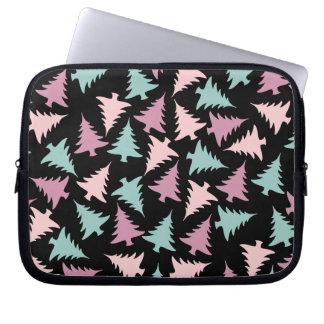Christmas tree pattern pastel pink purple green laptop sleeve