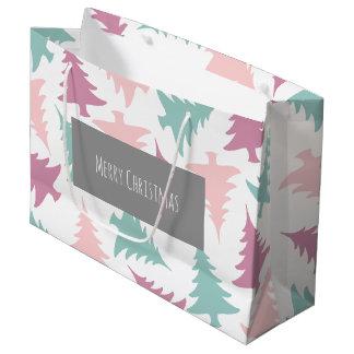 Christmas tree pattern pastel pink purple green large gift bag