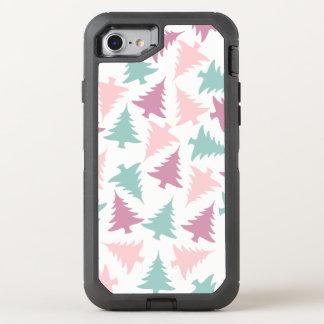 Christmas tree pattern pastel pink purple green OtterBox defender iPhone 8/7 case