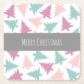 Christmas tree pattern pastel pink purple green square paper coaster