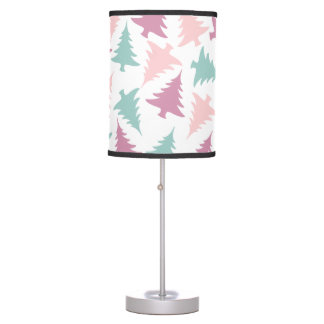 Christmas tree pattern pastel pink purple green table lamp