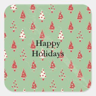 Christmas Tree Pattern Square Sticker