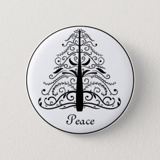 Christmas Tree Peace 2 Inch Round Button