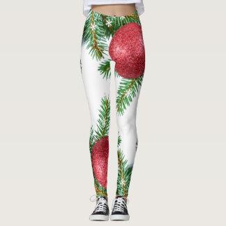 Christmas tree, pinecone & ornament print Leggings