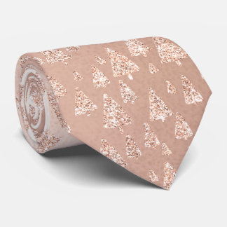 Christmas Tree Pink Rose Gold Glitter Sparkly Glam Tie