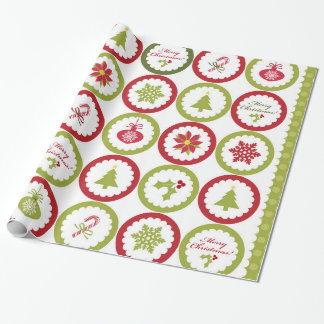 Christmas tree poinsettia snowflakes pattern wrapping paper