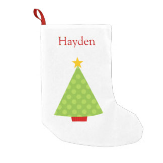 Christmas Tree Polka Dots Kids Personalized Small Christmas Stocking