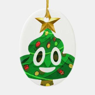 Christmas Tree Poop Emoji Ceramic Ornament