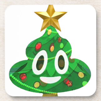 Christmas Tree Poop Emoji Coaster